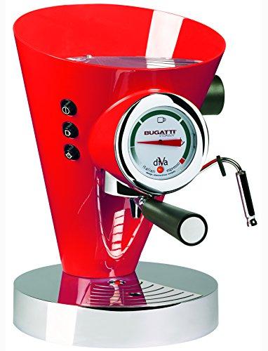 BUGATTI, Diva, Espresso, Kaffee- und Cappuccino-Maschine für gemahlenen Kaffee und Kapseln, 15 bar, 950 W, Kapazität 0,8 Liter, elegantes Design, Rot