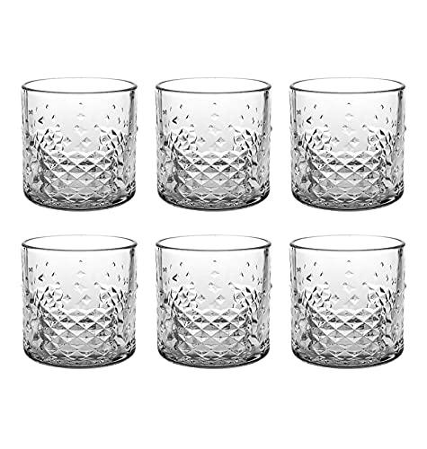 Set de 6 Vasos de Agua y Bebidas Alcohólicas, Vasos de Cristal Transparentes, Aptos para Lavavajillas y Microondas (39cl)