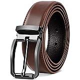NEWHEY Cinturon Hombre Cuero Cinturones Piel Jeans Cinturón Hombre 32mm Trabajo Clásico 125cm Rojo-Marrón
