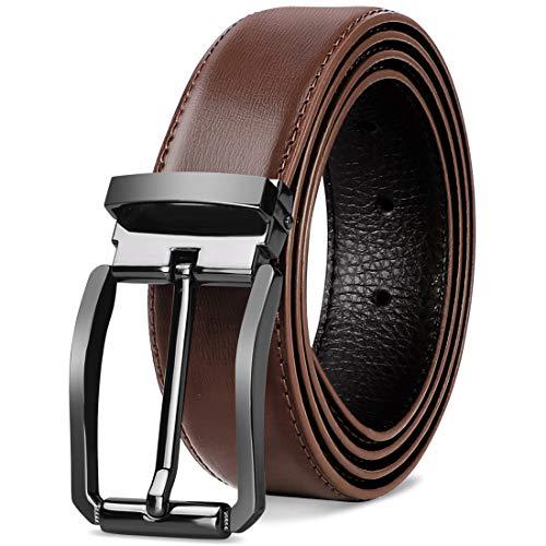 NEWHEY Herren Gürtel Leder Männer Ledergürtel Business Anzug Jeans Gurtel Verstellbar Schwarz Braun 32mm Breit 125cm Rot-Braun