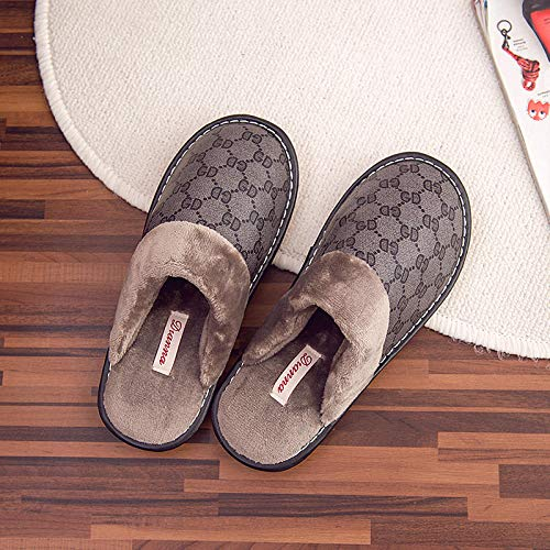 Nwarmsouth Zapatillas de casa Antideslizantes para Mujer,Zapatillas de Felpa de Invierno, Zapatos de algodón cálido Antideslizantes-Brown_38-39,Verano e Invierno/Pantuflas cómodas