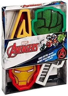 Marvel Avengers Cookie Cutters 4 Pack Iron Man, Hulk, Thor Hammer, and Signature A)