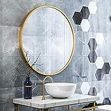 Espejo de Maquillaje para el baño Espejo Redondo Grande Dorado de Pared con Kit Completo para entradas, baños, Salas de Estar,40CM