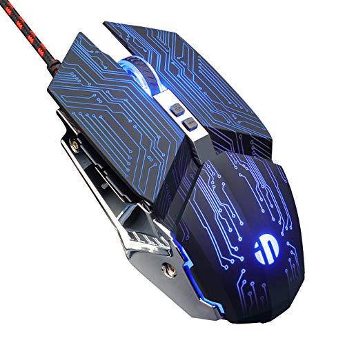 inphic Souris Gamer, Silencieuse 4800 DPI Souris de Jeu USB Optique 6 Boutons Souris Gaming Filaire avec Réglable DPI pour Windows 10/8/7,Mac, Technologie Noir