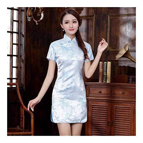 XYBB Chinese Qipao Klassische Frauen-Satin Cheongsam Oriental Braut Brautkleider Abendkleid-Partei (Color : Light Blue B, Size : 6XL.)