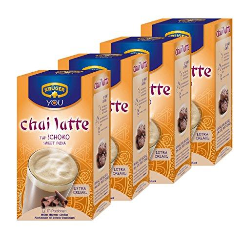 Krüger Chai Latte Sweet India, Schoko, mildes Milchtee Getränk, 4er Pack, 4 x 10 Portionsbeutel