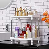 Bathroom Organizer Countertop,2-tier Vanity Tray Corner Shelf for Makeup Cosmetic Perfume Skincare Bathroom Supplies and More,Multi-Functional Acrylic Organizer in Vanity Dresser Bathroom