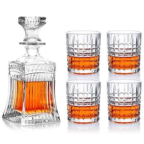 Whisky Weingläser Liquor Decanters 1 PCS Flasche 17oz + 4 PCS Glas 9,8oz Set Cocktailtrinkgravurkaraffe für Bourbon Scotch Vatertagsgeschenkbox