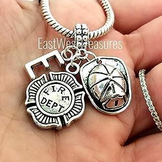 Firefighter Fireman Helmet Charm Bracelet, Necklace, Keychain, Personalized Maltese Cross Jewelry gift for Men Women