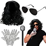 Rockstar Costume Kit Wig Glove Microphone Sunglasses for Jackson Costume Silver
