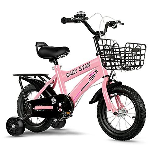 WJS Bicicletas Infantiles,Bicicletas Niño Niña 2-12 Años,Bicicletas 12 14 16 18 Pulgadas,Bici con Ruedines Y Cesta, Ruedas Auxiliares Bicicleta para Niños(Size:12inch,Color:Rosado)
