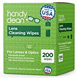 HandyClean Lens and Glass Cleaning Wipes Box of 200ct Pre-Moistened Quick-Drying Wipes for Eyeglasses, Cameras, Cell Phone Screens, Conveniently Fits in Purses, Pockets, or Carry-ons