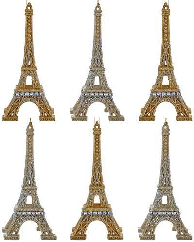 Kurt Adler 6.2-Inch Eiffel Tower Christmas Ornament Set of 2