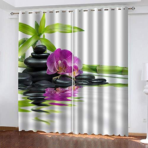 LOVEXOO 3D Stampate Tende Zen Tenda a Occhiello - Tende in Poliestere Anti-UV 3D Stampante Pannelli Finestra Tendiini per Porta L100 x A190cm