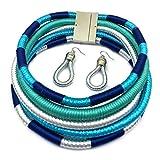 niumanery Multi-Layer Woven Choker Earrings African Necklace Dangle Earrings Jewelry Gifts Sky Blue