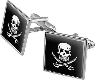 Pirate Skull Crossed Swords Tattoo Design Square Cufflink Set - Silver or Gold