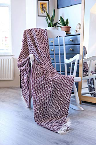 Large Natural Cotton Two Tone Geometric Couch Sofa Arm Chair Bed Settee Throw Blanket 170 x 200 cm Burgundy
