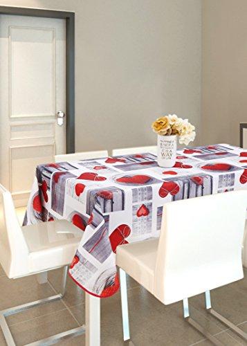 Mantel Mesa Cuadrado Antimanchas Impermeable, Manteles Estampados para Comedor Cocina Casa Hotel Restaurante, 140x140cm, Corazon de Amor