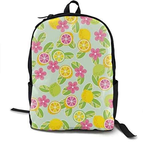 Frische farbige Lemon Print Leinwand Rucksäcke Klassischer Rucksack für Erwachsene, ältere Kinder