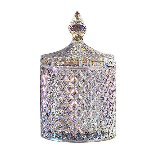 LuoCoCo Colorido Caja de Caramelo de Cristal con Tapas, Tarro de Almacenamiento Transparente, Azúcar Bowl, Cumpleaños Regalo para Boda/Buffet/Galleta/Joyero/Algodón/Hisopo (10.3 * 10.3 * 18CM)