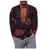 D-Rings Camisa informal para hombre, de patchwork, de manga larga, cuello alto, para bodas, fiestas, oficina, etc., Negro , XXXXXL