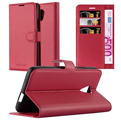 Cadorabo Hülle für Wiko Robby - Hülle in Karmin ROT – Handyhülle mit Kartenfach und Standfunktion - Case Cover Schutzhülle Etui Tasche Book Klapp Style