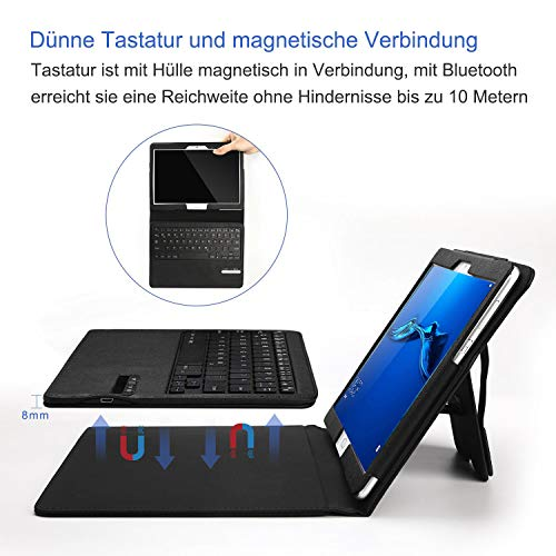 Jelly Comb Bluetooth Tastatur Hülle für Huawei MediaPad M3 Lite 10.1 Zoll, Kabellose Abnehmbare QWERTZ Tastatur mit Schützhülle für Huawei Android Tablet M3 25,6cm (10,1 Zoll), Schwarz - 4