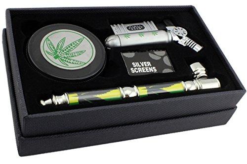 GYD XXL Geschenkset Grinder 4-TLG - Profi Raucher & Kiffer Set im Box/Geschenkverpackung - Raucherset Zubehör - Grinder, Pfeife Feuerzeug und Siebe