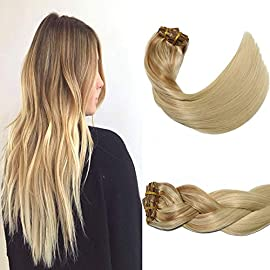 Hair Extensions Clip in Human Hair Balayage Golden Brown Fading to Platinum Blonde Aison 14inch 7pcs 120g Brown De…