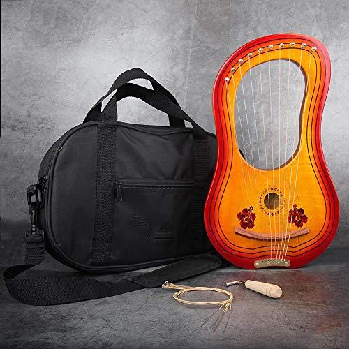 Arpa 10 15 Arpa Cuerdas Acero Arpa China con EQ Heptachord Solidwood Caoba lejía Arpa con Llave de afinación y Bolsa de Regalo para los Amantes de la música para Adultos Principiantes niños