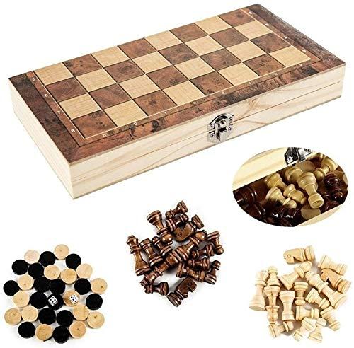 LMDH Juego de Juegos de ajedrez portátil 3-en-1 Conjunto de ajedrez, Juego de ajedrez de Viaje magnético Plegable, Juego de Mesa de ajedrez Hecho a Mano en Palisandro Fino (Size : 34X34CM)