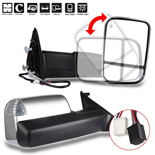 LSAILON Tow Mirrors Towing Mirrors Fit for 2011-2016 Dodge Ram 1500/2500/3500 with Left and Right Side Power Control Heated with Turn Signal Light Puddle Light Chrome