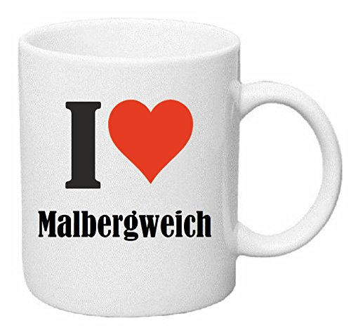 Reifen-Markt Kaffeetasse I Love Malbergweich Keramik Höhe 9,5cm ⌀ 8cm in Weiß