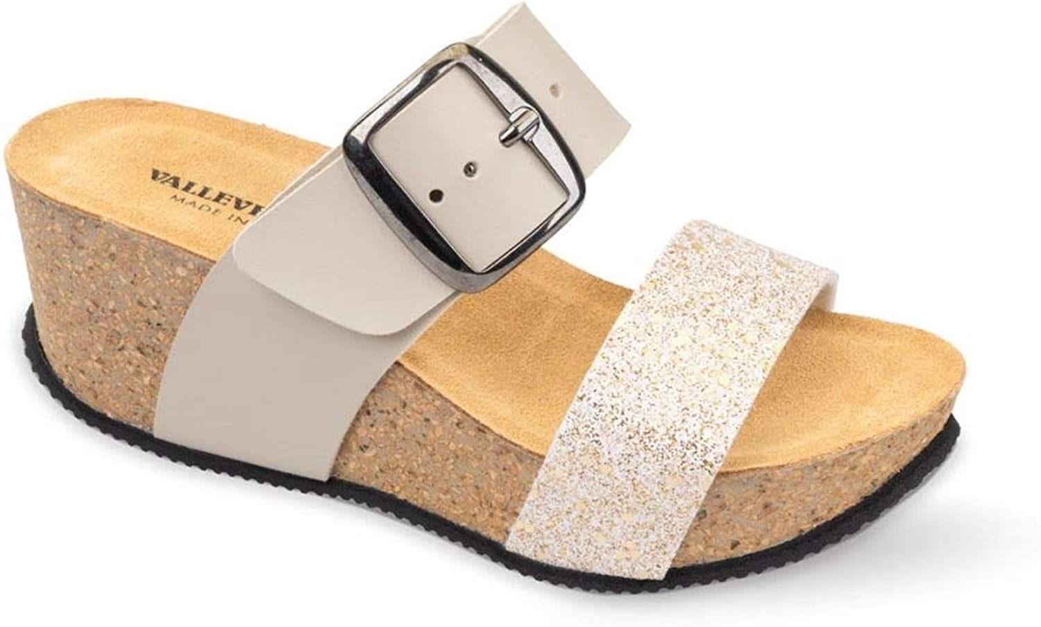 Vallegreen G 51463 Sandal Wedge shoes Woman Beige Glitter Leather Made in
