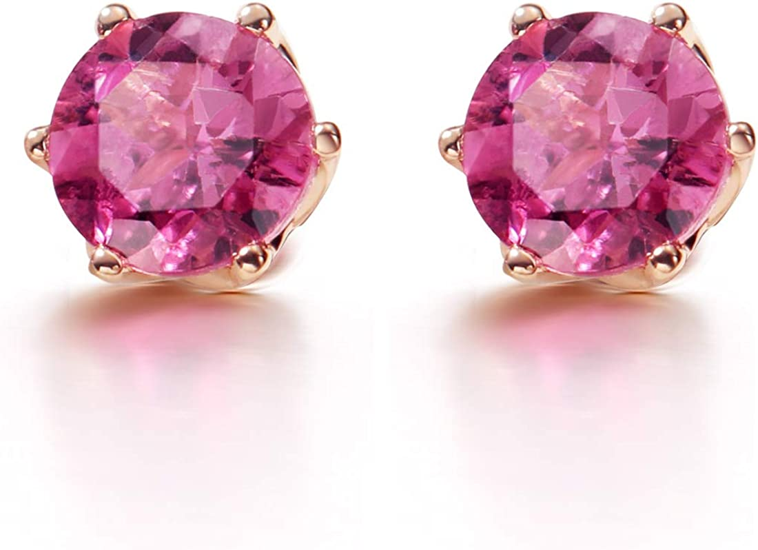 Agvana 14K Solid Rose Gold Diamond Cut Solitaire Genuine Natural 0.73Ct Pink Tourmaline Small Stud Earrings October Birthstone Jewelry Anniversary Birthday Gifts for Women Girls Mom Her, Size 5mm