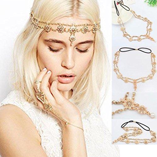 DDLBiz® Perlen Troddel Blumen Ausdehnungs Stirnband Haar Band Kristallhaar Kette Gold 52cm, Ostern Karneval, eine Geschenkboutique