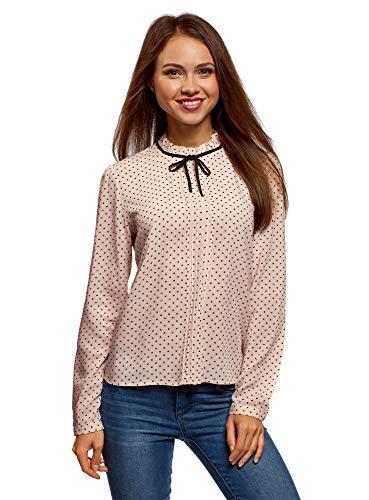 oodji Ultra Damen Bluse mit Dekorativer Schleife und Rüschen am Kragen, Beige, DE 42 / EU 44 / XL