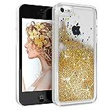 EAZY CASE Hülle kompatibel mit Apple iPhone 5C Schutzhülle mit Flüssig-Glitzer Handyhülle, Schutzhülle, Back Cover mit Glitter Flüssigkeit, aus TPU/Silikon, Transparent/Durchsichtig, Gold