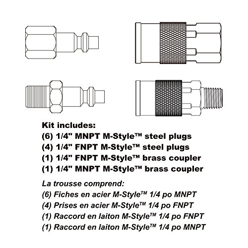 """WYNNsky Air Coupler and Plug Kit, Quick Connect Air Fittings, 12 Piece 1/4"""" Industrial Solid Brass Quick Connect Set"""