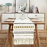 Sxuan Tischläufer 180x35cm, Waschbar Tischdekoration aus Baumwollgewebe mit Quasten für Esszimmer Outdoor Urlaub Party Dekoration, Beige