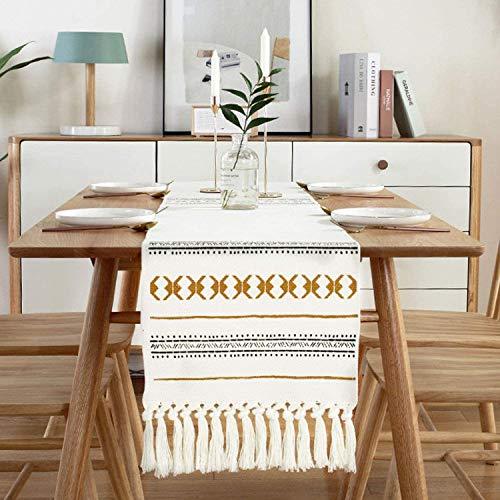 Sxuan Tischläufer 220 x 35 cm, Waschbar Tischdekoration aus Baumwollgewebe mit Quasten für Esszimmer Party Urlaub Dekoration, Beige
