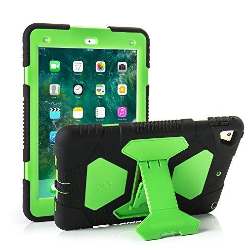 KIDSPR Schutzhülle für iPad 9,7 (2018/2017), leicht, stoßfest, robust, mit Standfunktion, für Kinder schwarz / grün