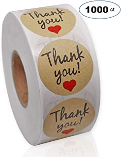 Thank You Stickers Roll,1.5 Kraft Paper Circle Labels, Thank You Adhesive Label for Baby Shower/Wedding/Birthday/Party, 1000 Stickers per Roll, Round Shape,1-1/2 Inch