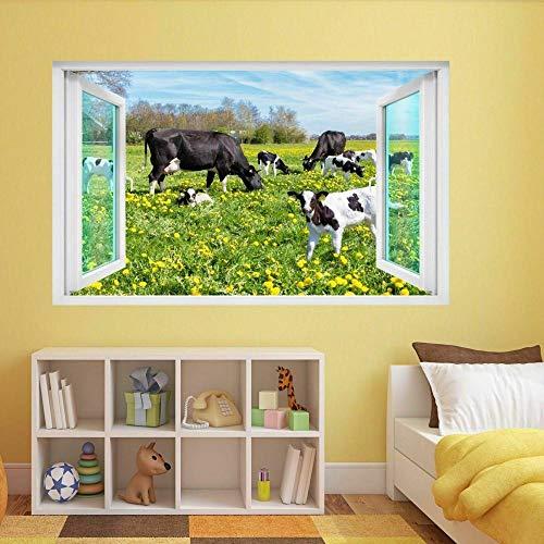 Pegatinas de pared etiqueta de la pared Pastoreo vaca becerro 3D etiqueta de la pared mural calcomanía habitación de los niños 80 * 120CM
