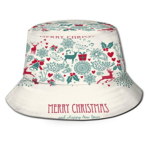 Fishing Hat,Vintage Christmas Elements Reindeer Text Seamless,Hiking Boonie Safari Sun Caps Traveling for Men&Women for Outdoor Gardening