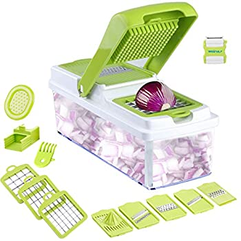 Vegetable Slicer Dicer WEINAS Food Chopper Cuber Cutter Cheese Grater Multi Blades for Onion Potato Tomato Fruit