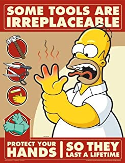 Simpsons Hand Protection Safety Poster - Some Tools Are Irreplaceable
