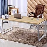 NSdirect 55' X-Large Computer Desk,HasWideWorkstationTabletopforWriting,GamesandHomeWork,Modern Office Desk&Dining Table MadeofTheFinishWoodBoardandSturdySteelLegs (55' Oak+White)