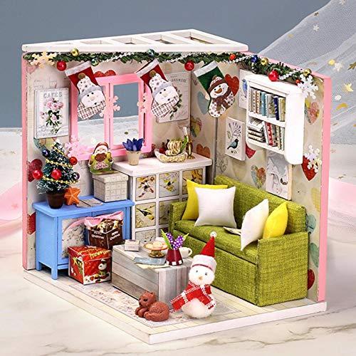 DIY Miniatur Dollhouse Kit Cabin Geschenk Schlafzimmermöbel Puppenhaus, Handgemachtes zusammengesetztes Mini Hut Cabin Geschenk DIY Puppenhaus Handmade Assembled