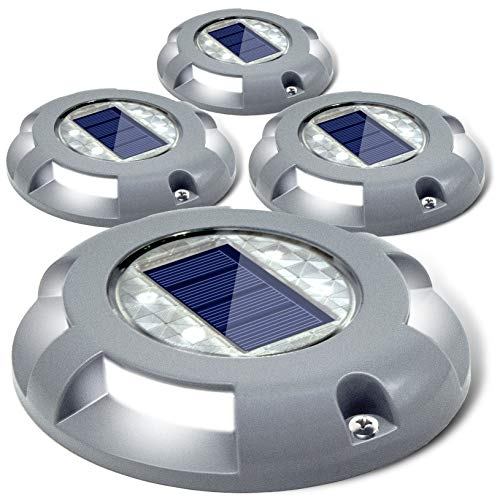 Siedinlar Solar Deck Lights Driveway Dock LED Light Solar Powered Outdoor Waterproof Road Markers for Step Sidewalk Stair Garden Ground Pathway Yard 4 Pack (White)